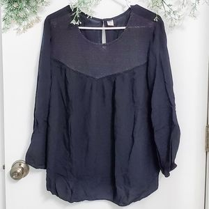 Old Navy Solid Black Long Sleeve Woven-Neck Blouse